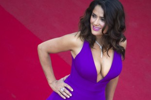 """Actress Salma Hayek poses on the red carpet as she arrives for the screening of the film """"Carol"""" in competition at the 68th Cannes Film Festival in Cannes, southern France, May 17, 2015.            REUTERS/Yves Herman - RTX1DCX2"""